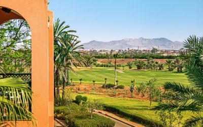 View of Marrakech from a golf resort with green fields and palms