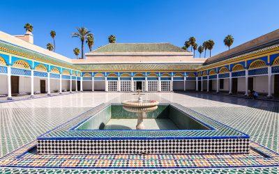 colorful patio of marrakech bahia palace, morocco